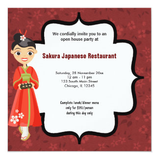 Sushi Open House 13 Cm X 13 Cm Square Invitation Card