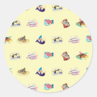 Sushi pattern round sticker