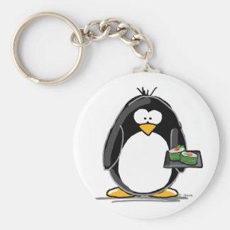 Sushi Penguin Basic Round Button Key Ring
