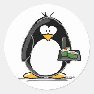 Sushi Penguin Classic Round Sticker