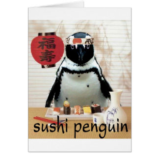 sushi penguin greeting cards