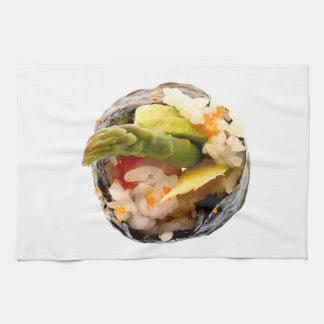 Sushi Roll Asparagus Rice Japanese Food Template Tea Towel