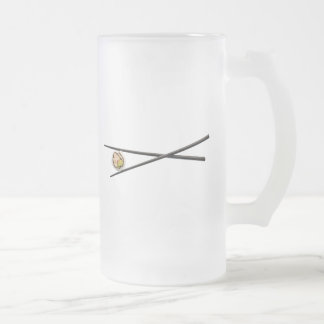 Sushi Roll & Chopsticks - Customized Template Frosted Glass Beer Mug