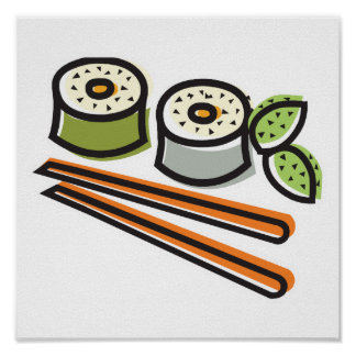 sushi rolls and chopsticks poster