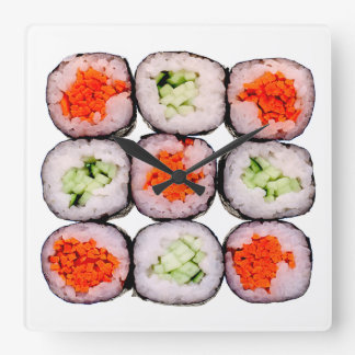 Sushi Rolls Japanese Food Template Square Wall Clock