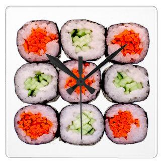 Sushi Rolls Japanese Food Template Wall Clocks