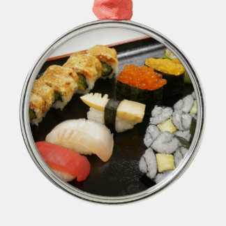 Sushi Rolls Sesame Ginger Wasabi Japan Kitchen Silver-Colored Round Decoration