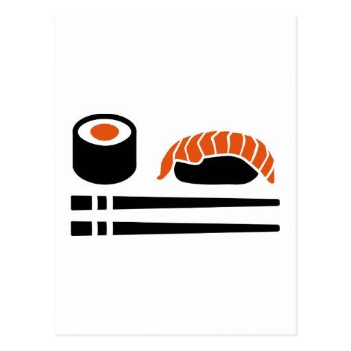Sushi sashimi sticks postcard