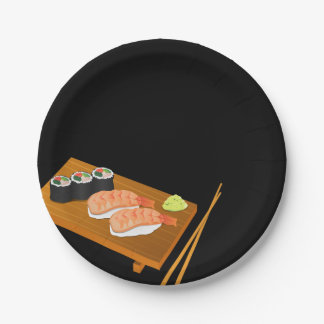 Sushi Selection on Wooden Board Black Paper Plate