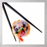 Sushi Shrimp Roll Black Chopsticks on White Japan