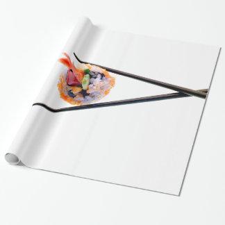 Sushi Shrimp Roll Black Chopsticks on White Japan Wrapping Paper