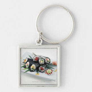 Sushi Silver-Colored Square Key Ring