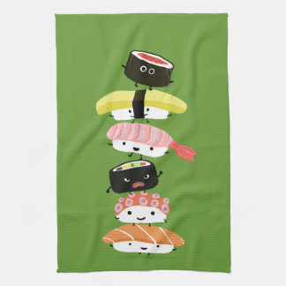 Sushi Stack - A Tower of Happy Sushi Friends Kitchen Towels