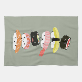 Sushi Stack - A Tower of Happy Sushi Friends Tea Towel