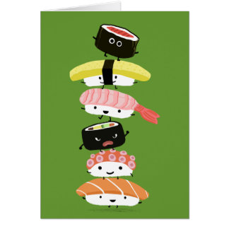 Sushi Stack - Happy Tower of Sushi Friends Note Card