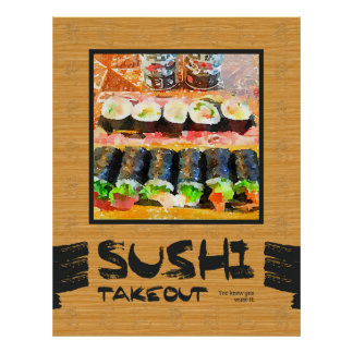 Sushi Takeout You Know You Want It Japanese Food Poster