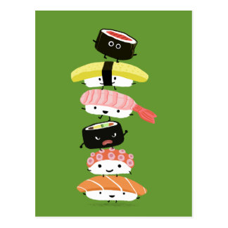 Sushi Tower - A Happy Stack of Sushi Friends Postcard