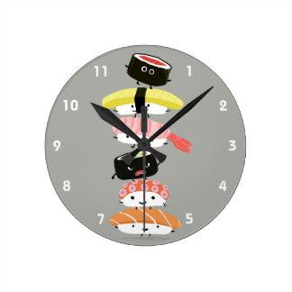Sushi Tower - Cute Sushi Friends Round Clock
