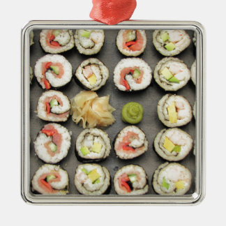 Sushi With Wasabi And Ginger Silver-Colored Square Decoration
