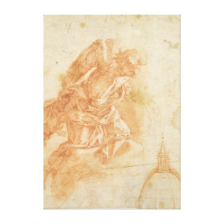 Suspended angel and architectural sketch, c.1600 canvas print