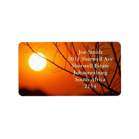 Suspended sunset address label