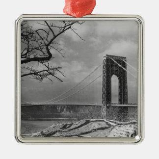Suspension bridge view B&W Christmas Ornament