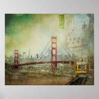 Suspension - Golden Gate Bridge Collage Poster