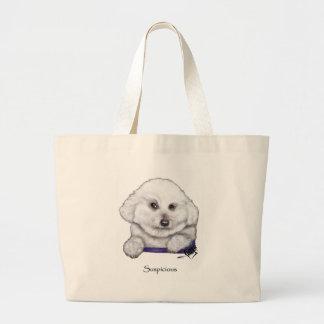 Suspicious Bichon Frise Tote Bag