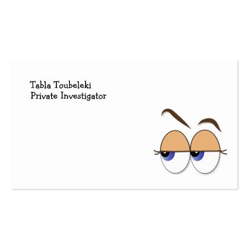 Suspicious Eyes Sideways Glance Eyeballs Business Card Template