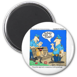 Suspicious Package Funny Police Cartoon Gifts 6 Cm Round Magnet