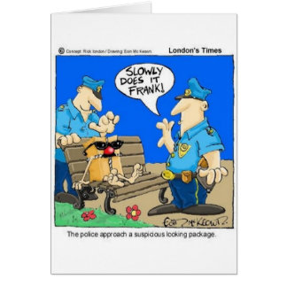 Suspicious Package Funny Police Cartoon Gifts Greeting Card