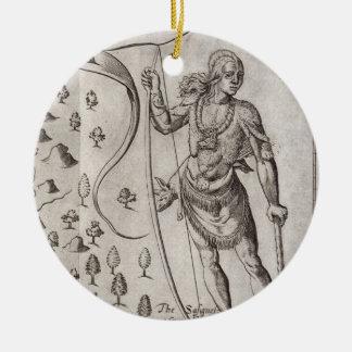 Susquehannock warrior, detail from Map of Virginia Round Ceramic Decoration