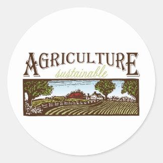 Sustainable Agriculture farm scene Round Sticker