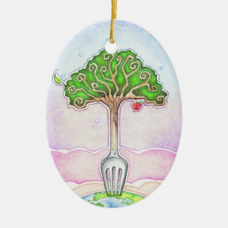 SUSTAINABLE, FOOD FOR LIFE CERAMIC OVAL DECORATION