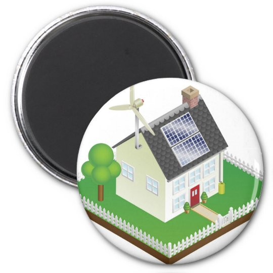Sustainable renewable energy house 6 cm round magnet