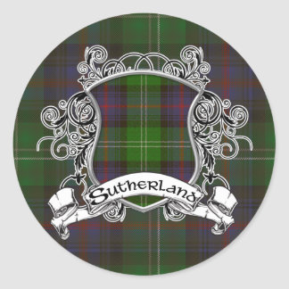 Sutherland Tartan Shield Classic Round Sticker