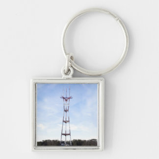 Sutro Tower Silver-Colored Square Key Ring