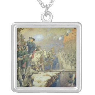 Suvorov crossing the Devil's Bridge in 1799, 1880 Silver Plated Necklace