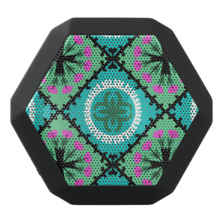 Suzani Pattern with Uzbek and Kazakh Motifs Black Bluetooth Speaker