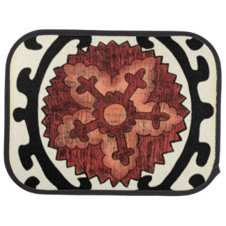 Suzani Style Decorative Floral Pattern Car Mat