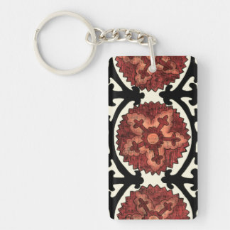 Suzani Style Decorative Floral Pattern Key Ring