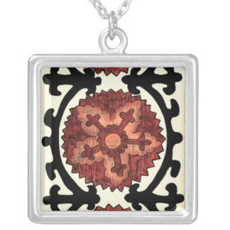 Suzani Style Decorative Floral Pattern Silver Plated Necklace