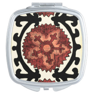 Suzani Style Decorative Floral Pattern Travel Mirrors