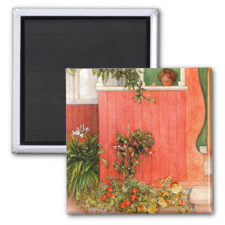 Suzanne on the Porch Square Magnet