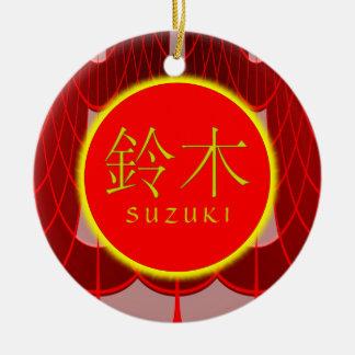 Suzuki Monogram Fire Round Ceramic Decoration