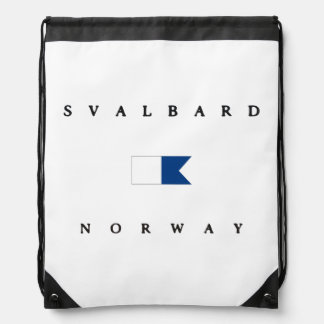 Svalbard Norway Alpha Dive Flag Drawstring Bag