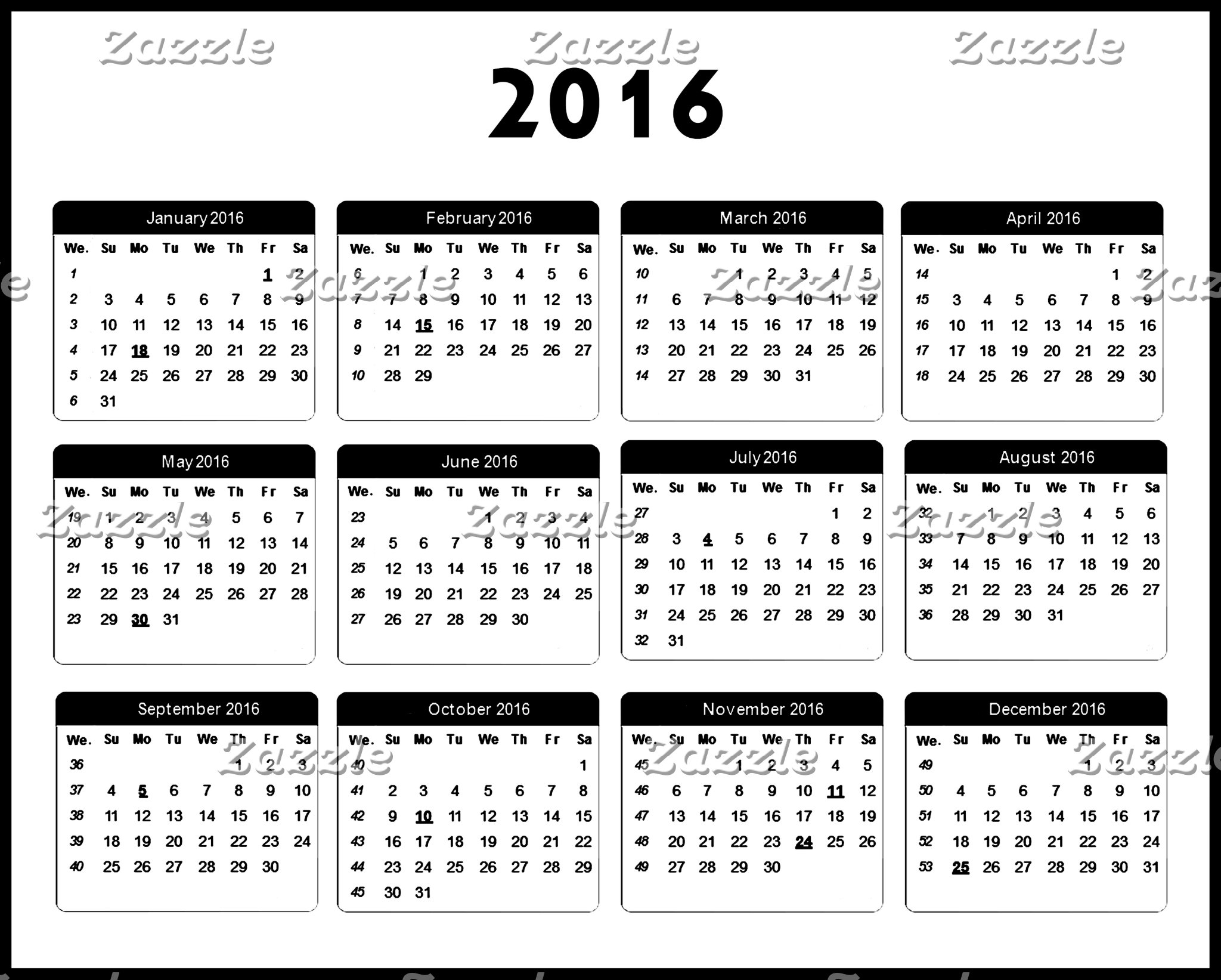 2016 Calendar jGibney The MUSEUM Zazzle Gifts