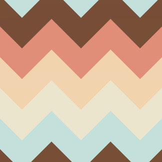 Retro Brown Teal Orange Chevron Pattern