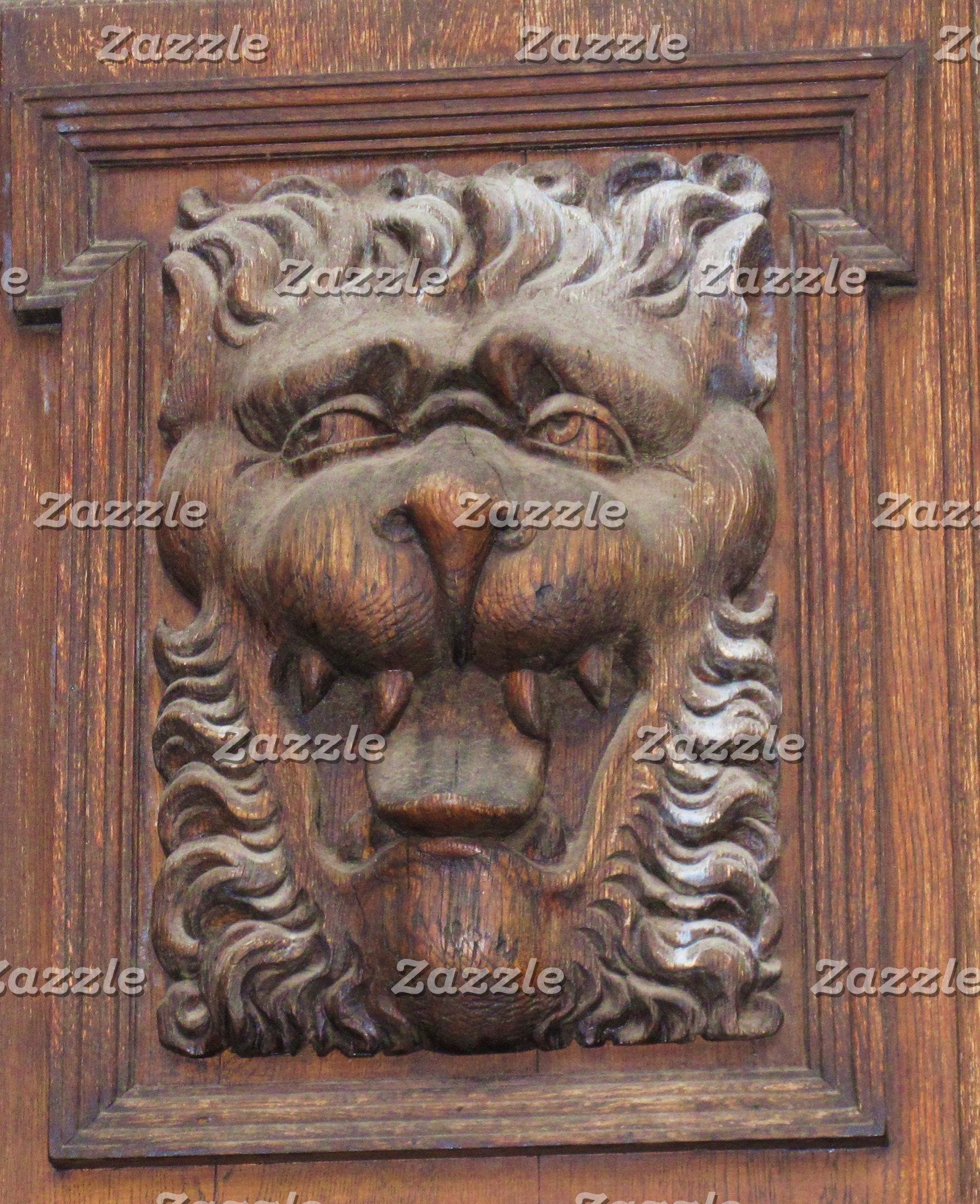 Medieval Lion Wood Carving