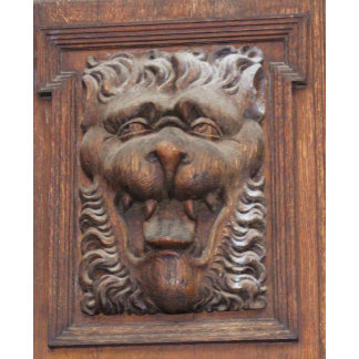 Medieval Lion Wood Carving